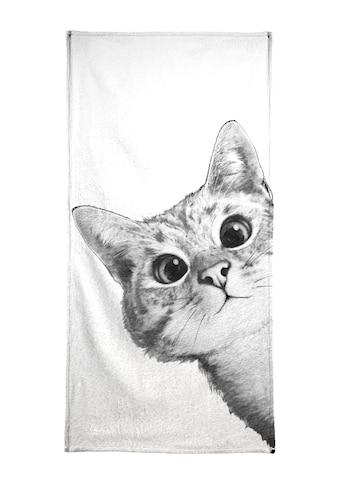 Juniqe Handtuch »Sneaky Cat«, (1 St.), Weiche Frottee-Veloursqualität kaufen