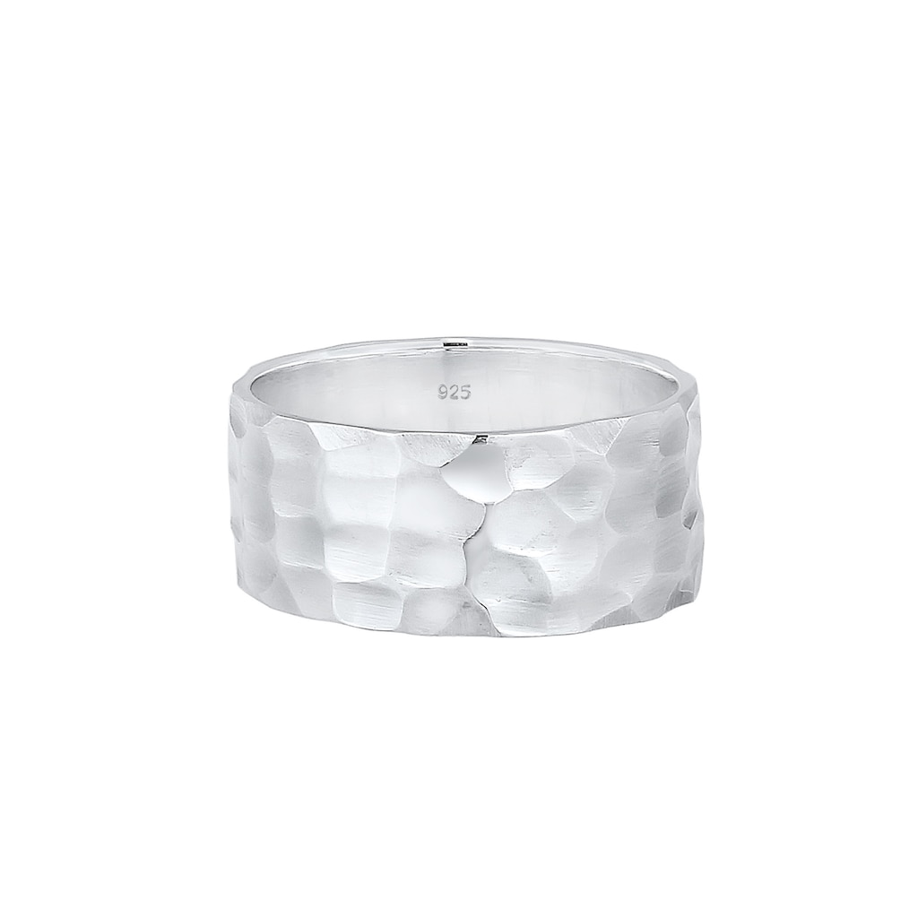 Elli Fingerring »Breit Bandring Gehämmert Matt 925er Silber«