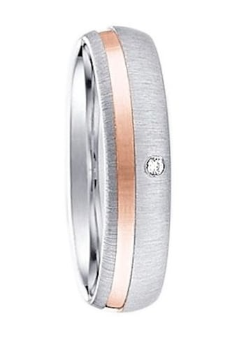 Firetti Trauring mit Gravur »glanz, gebürstet, Diamantschnitt, bicolor, 5,0 mm breit«, Made in Germany, wahlweise mit oder ohne Zirkonia kaufen