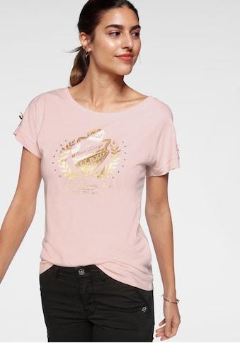 TOM TAILOR Polo Team T-Shirt, mit goldfarbenen College Details kaufen