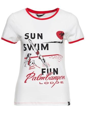 QueenKerosin Print-Shirt, mit Frontprint und kontrastierenden Bündchen kaufen