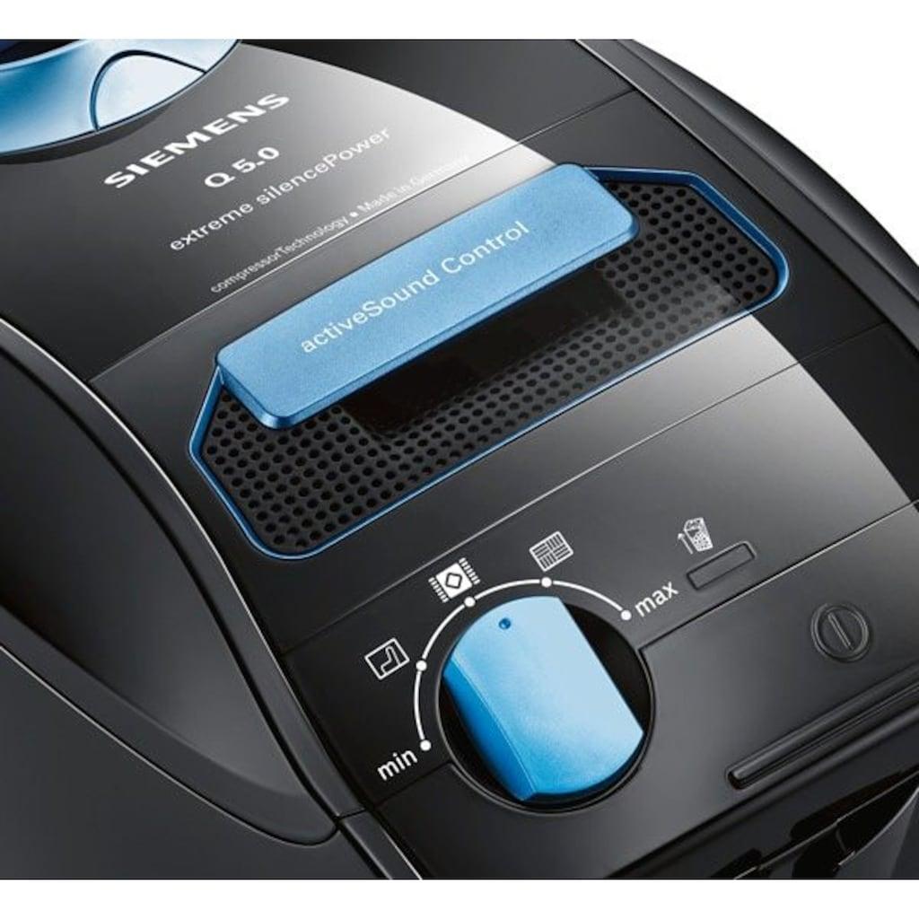 SIEMENS Bodenstaubsauger »extreme silencePower VSQ5X1230, schwarz,«, 850 W, mit Beutel, starke Saugleistung, ideal für Allergiker