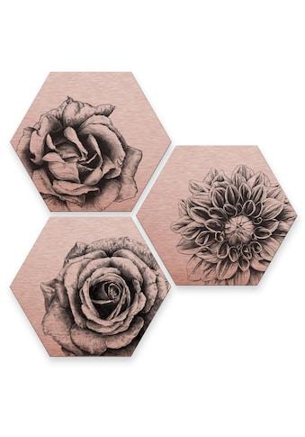 Wall-Art Mehrteilige Bilder »Florales Blumen Set Kupfer«, (Set, 3 St.) kaufen