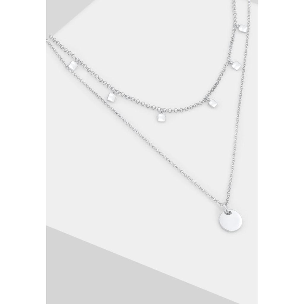 Elli Ketten-Set »Halskette 2er Set Choker Layer Plättchen Geo Look, 0112952019«, (Set, 3 tlg.)