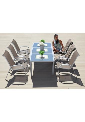 MERXX Gartenmöbelset »Amalfi«, (7 tlg.), 6 Sessel, Tisch 90x140-200 cm, Alu/Textil kaufen
