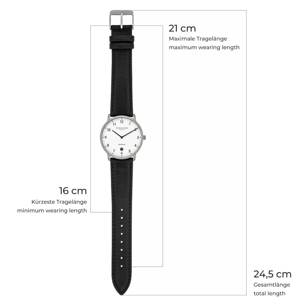 Sterzinger Quarzuhr »SM009«, (1 tlg.), Armband aus Echtleder, Made in Italy