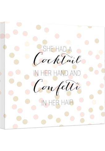 Wall-Art Leinwandbild »Confetti & Cream - Cocktail in her Hand and Confetti in hair« kaufen