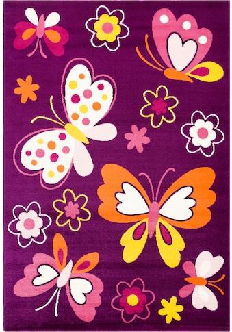 Sanat Kinderteppich »Bambino 2102«, rechteckig, 11 mm Höhe, Schmetterlinge, Kurzflor kaufen
