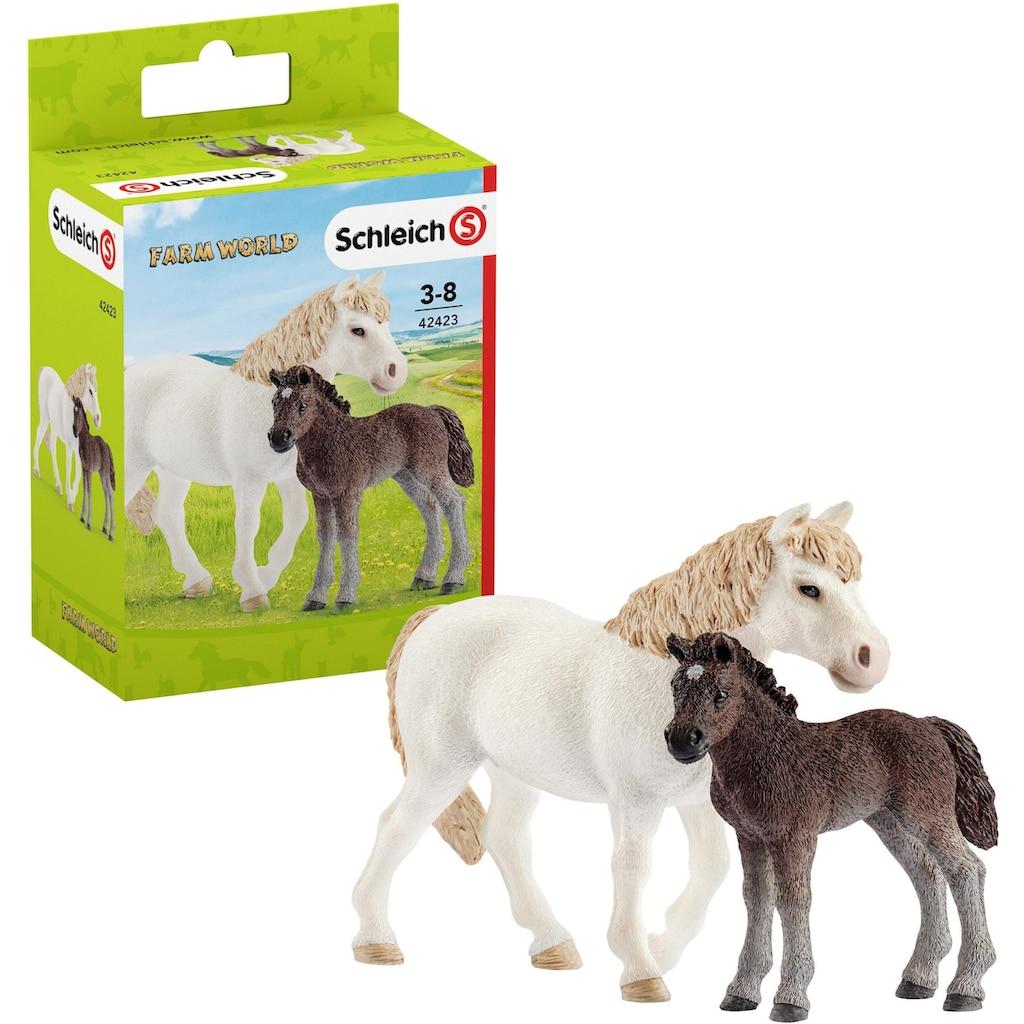 """Schleich® Spielfigur """"Farm World, Pony Stute mit Fohlen (42423)"""", (Set)"""