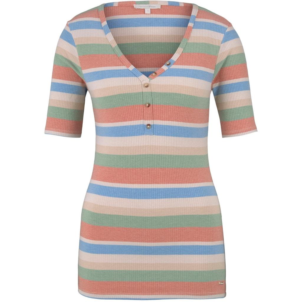 TOM TAILOR Denim T-Shirt, mit geknöpftem Henley-Ausschnitt