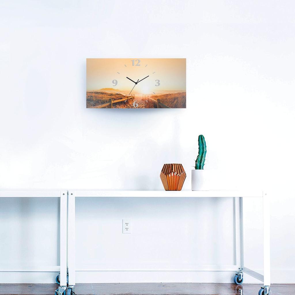 Artland Wanduhr »Sonnenuntergang Panorama Strand«, 3D Optik gebogen