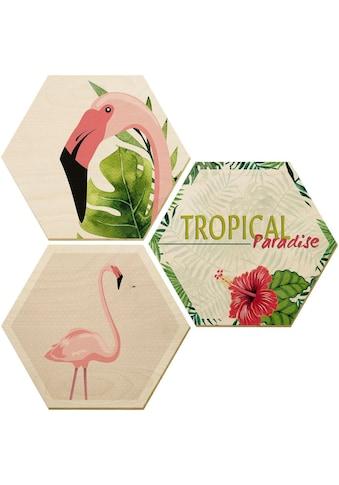 Wall-Art Holzbild »Flamingo 03«, (Set) kaufen