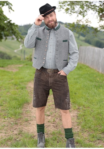 Country Line Trachtenlederhose kurz Herren mit Reißverschluss und Knopf vorne kaufen