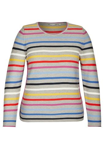 Rabe Rundhalspullover, mit Streifen-Muster und Logoapplikation kaufen