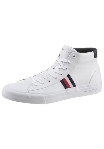 TOMMY HILFIGER Sneaker »CORPORATE MIDCUT LEATHER SNEAKER«, mit Logoschriftzug in der Laufsohle kaufen