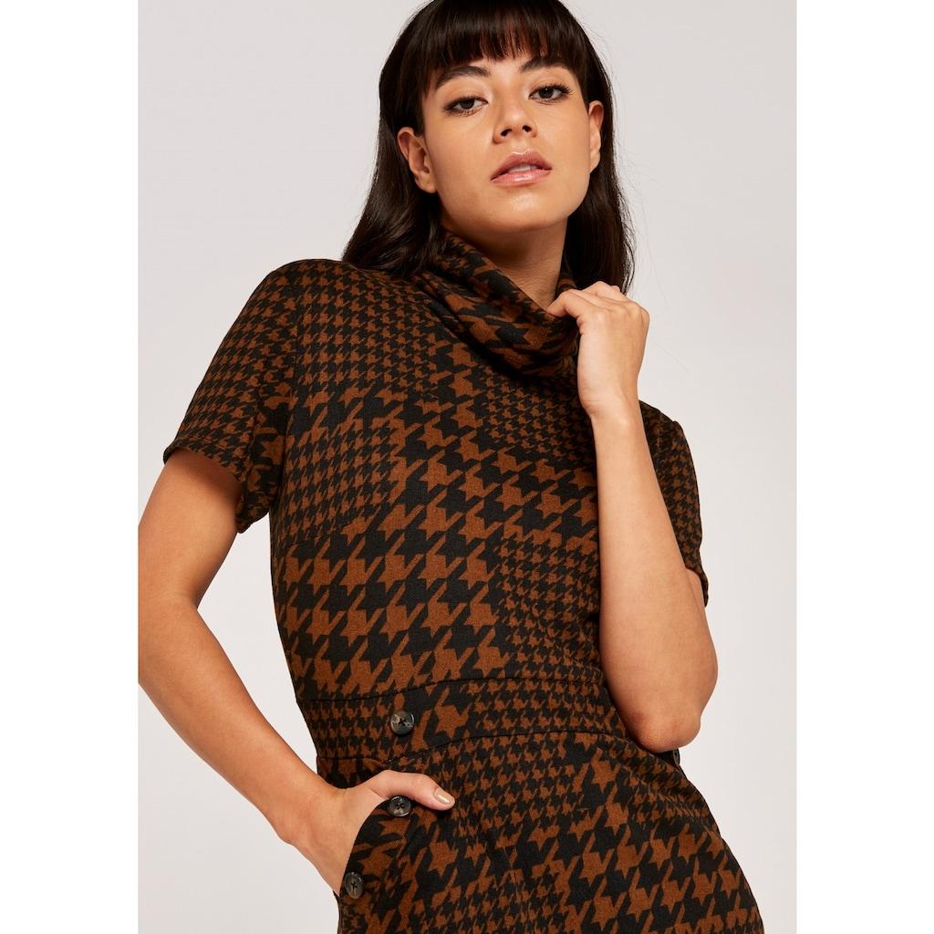 Apricot Etuikleid »Patchwork Dogtooth Epaulette Dress«, mit Rollkragen