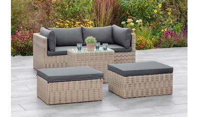 MERXX Gartenmöbelset »Licosa«, (5 tlg.), 2 Sessel, 2 Hocker, Tisch, mit Auflagen, naturgrau kaufen