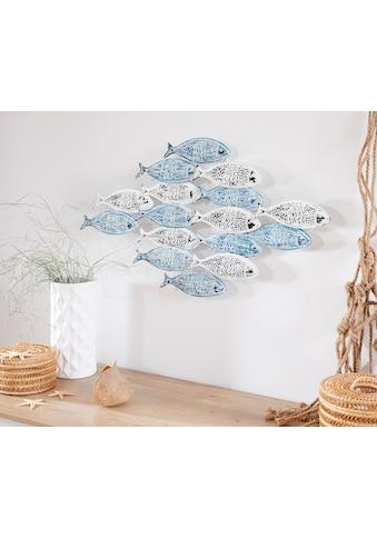 Home affaire Wanddekoobjekt »Fische«, Wanddeko aus Metall, Shabby Look kaufen