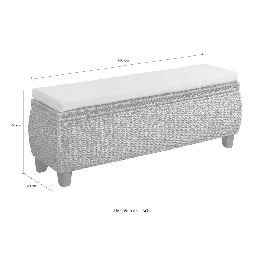 Home affaire Truhenbank »Larkson«, aus Wasserhyazinthe, inklusive Sitzkissen, einem aufklappbaren Deckel und einem stoffbezogenen Innenfach