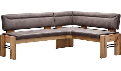 K+W Komfort & Wohnen Eckbank »Floyd«, gepolstert, Stauraumbank, Massivholz mit Roheisen, wahlweise langer Schenkel rechts oder links in 2 Qualitäten kaufen