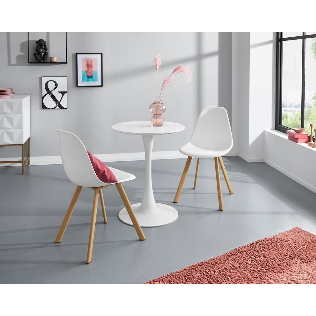 INOSIGN Esstisch »Feronia«, mit einer runden Tischplatte aus Holzwerkstoff und einem Trompetenförmigen Metallgestell, in zwei unterschiedlichen Tischgrößen erhältlich