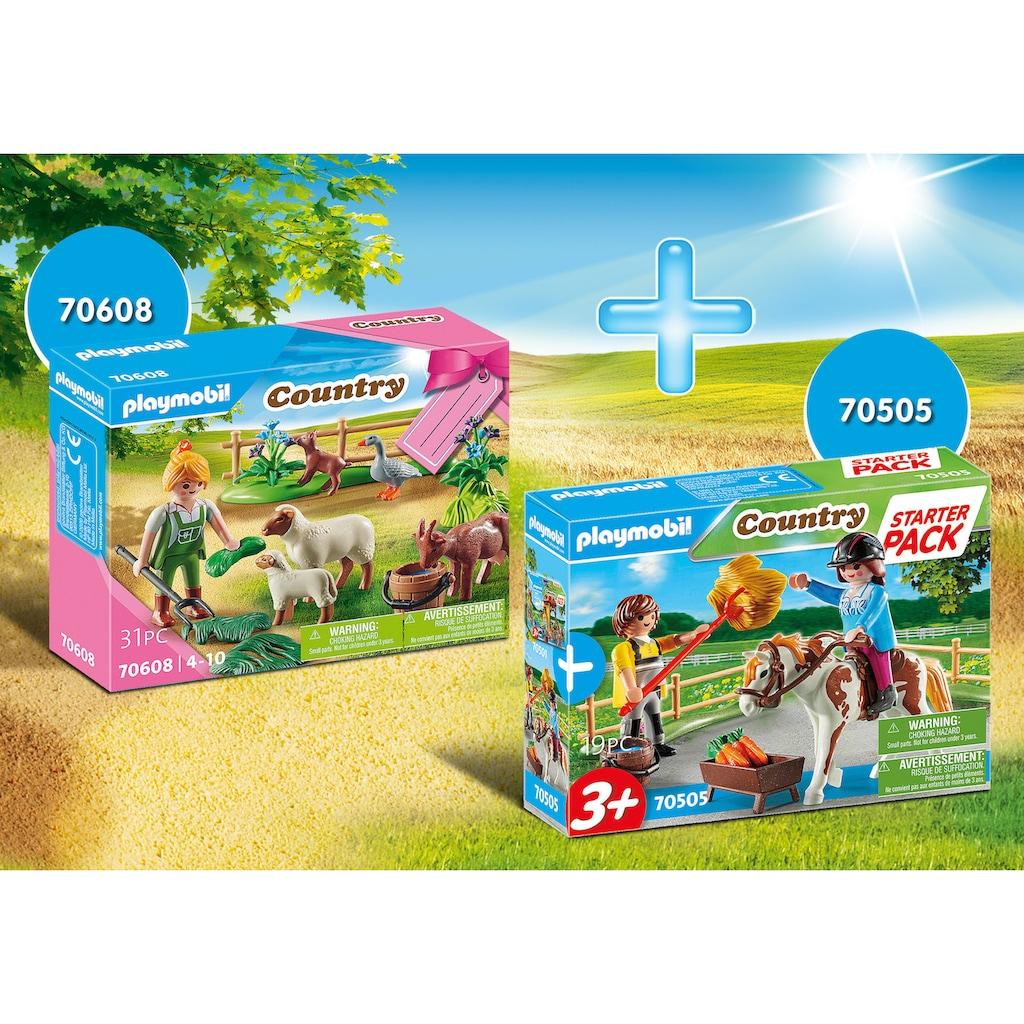Playmobil® Konstruktions-Spielset »Reiterhof Ergänzungsset (70505) und Bäuerin mit Weidetieren (70608), Country«, (Set, 2 St.), Made in Europe