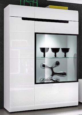 moderner Vitrinenschrank in Weiß Hochglanz mit integrierter Beleuchtung