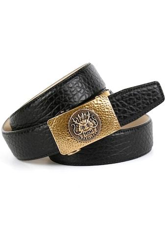Anthoni Crown Ledergürtel, Extravaganter Herren-Gürtel mit Prägung in Walross-Design kaufen