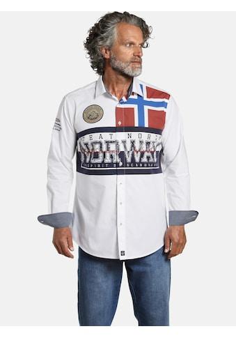 Jan Vanderstorm Langarmhemd »ATLE«, Norwegen Flaggen Print kaufen