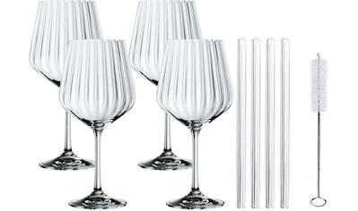 Nachtmann Weinglas »Tasted Good«, (Set, 4 tlg.), (4x Gin&Tonic Glas, 4x Glashalm, 1x... kaufen