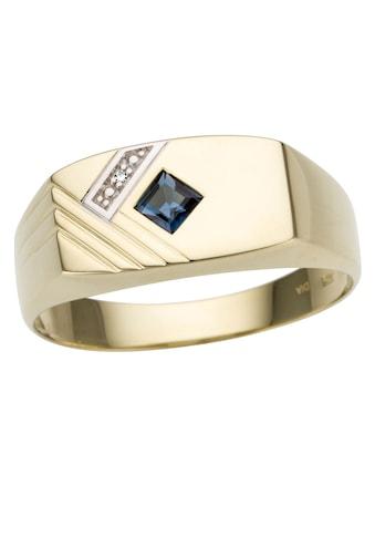 Firetti Diamantring »glanz, bicolor, Diamantschnitte«, mit Saphir und Brillant kaufen