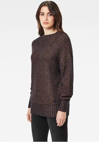 G-Star RAW Strickpullover »Viisi Mock Loose Knit Pullover«, mit angedeuteten Stehkragen und Bündchen in Ripp-Optik kaufen