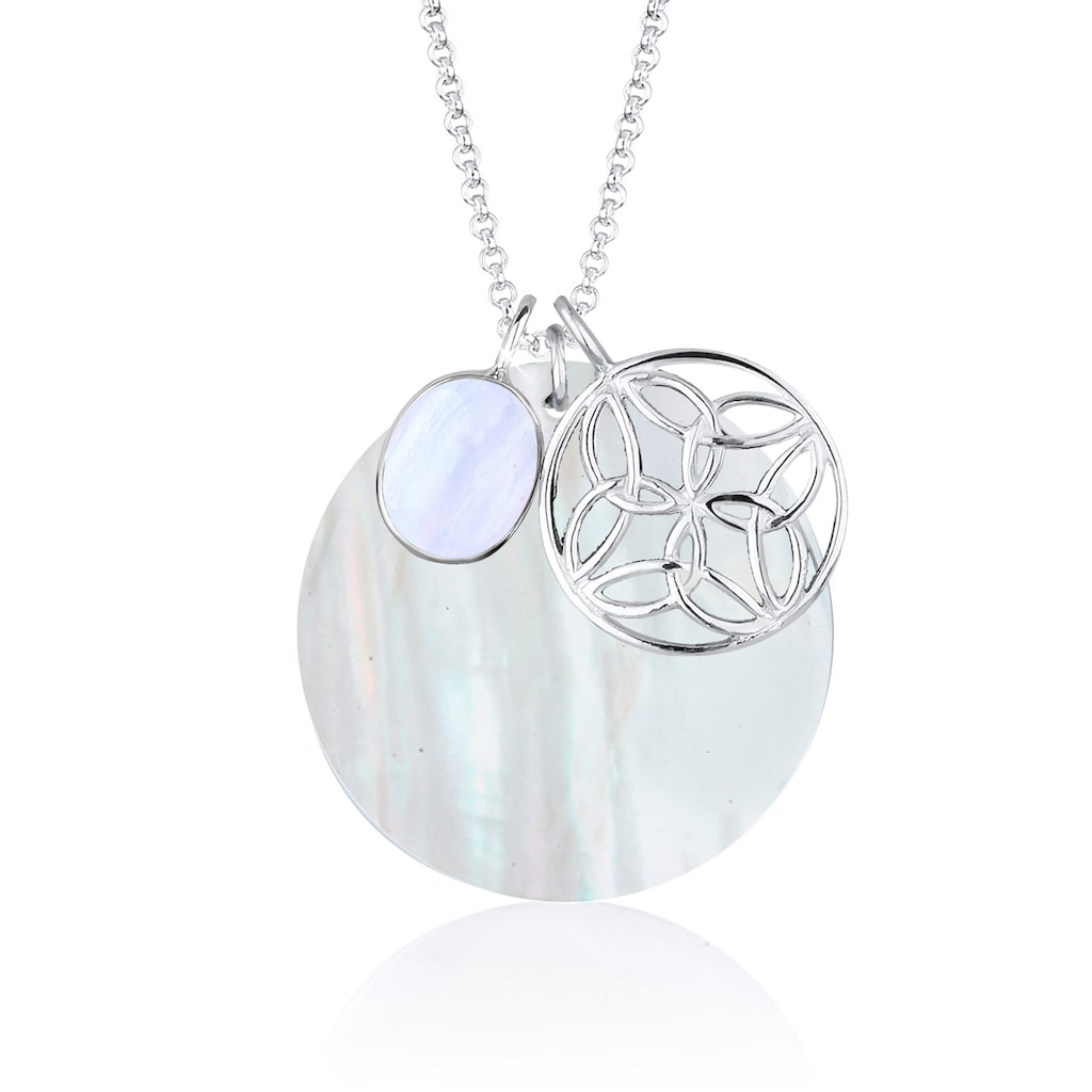 Elli Kette mit Anhänger »Perlmuttscheibe Ornament Achat Stein 925 Silber«