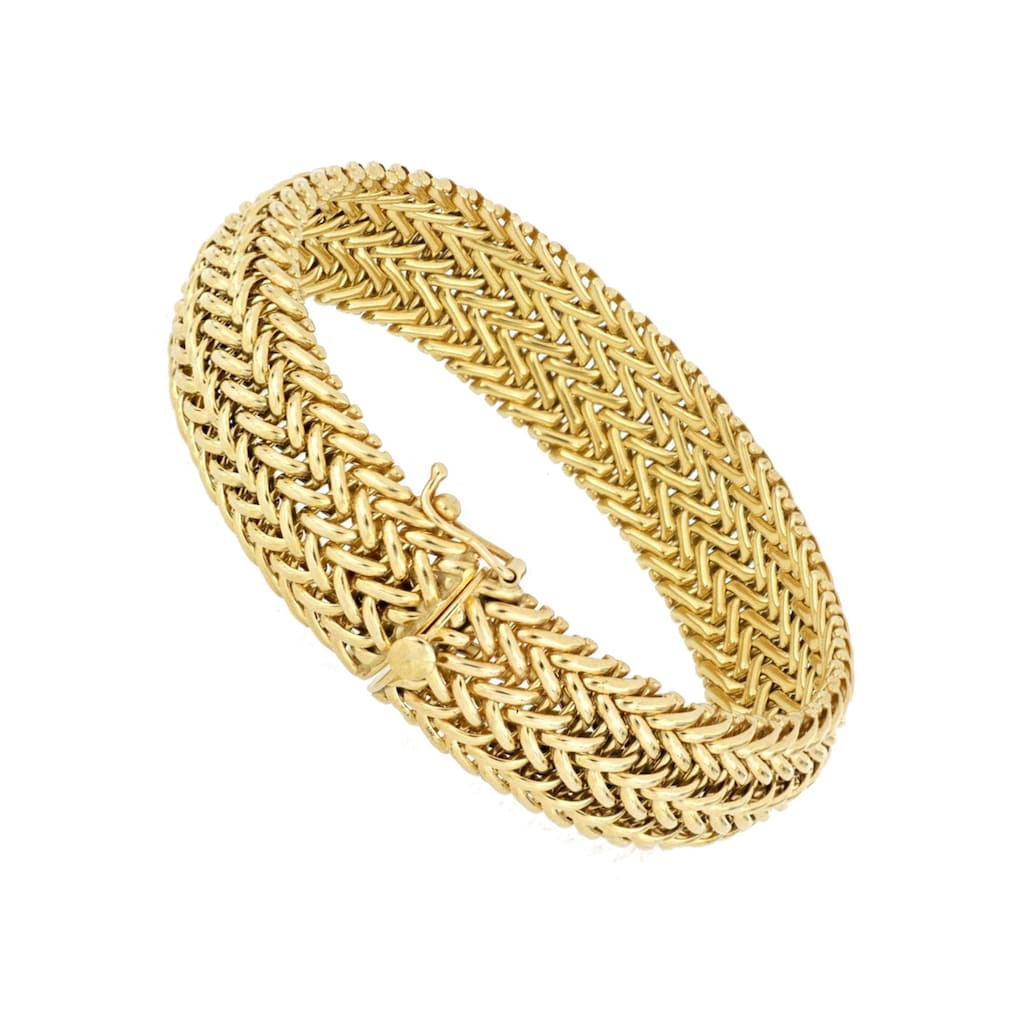 Firetti Armband »Doppelzopfkettengliederung, 15,5 mm breit, vergoldet, Glanz, konvex«