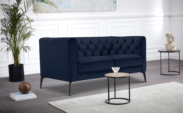 dunkelblaues Chesterfield Sofa