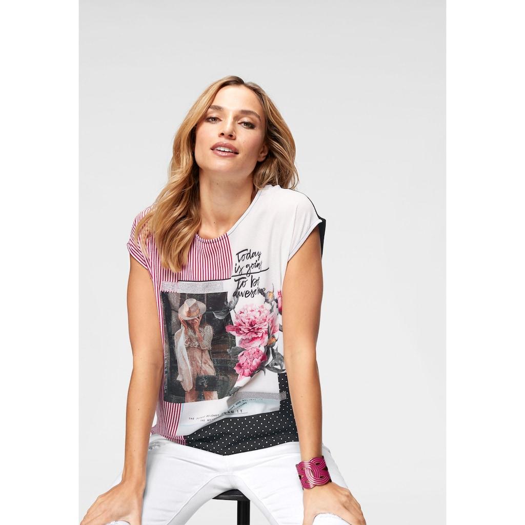 Aniston CASUAL T-Shirt, aktueller Druckmix mit silberfarbenen Glanzstreifen