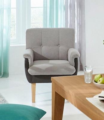 grauer, gepolsterter Esszimmersessel