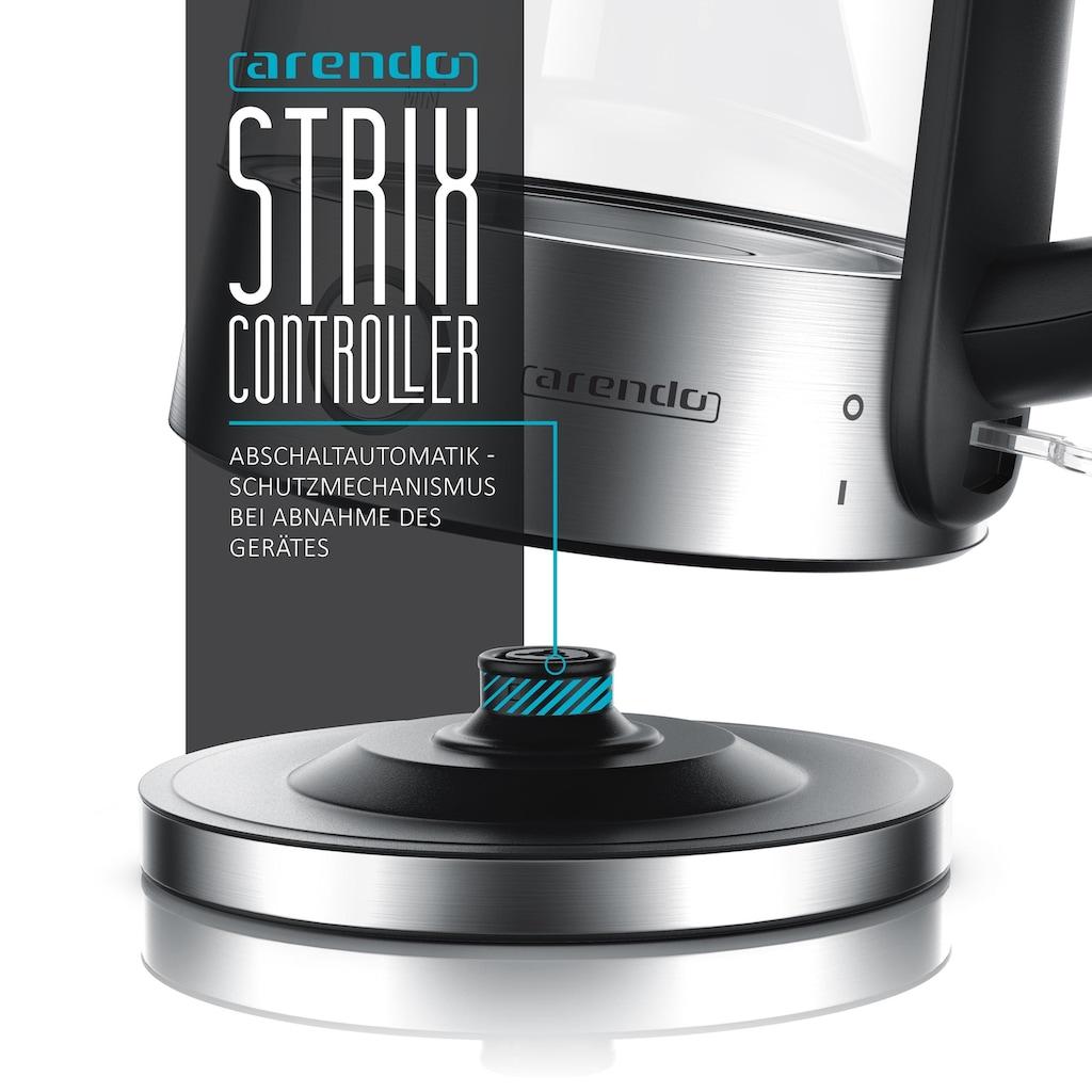 Arendo Premium Edelstahl Glas Wasserkocher mit LED »1,7 Liter / 2200W / automatische Abschaltung«