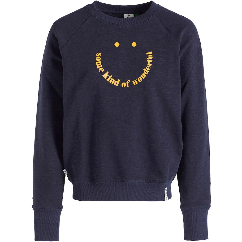 khujo Sweatshirt »Silicia SMILE«, Rundhals Sweatie mit coolen Frontdruck