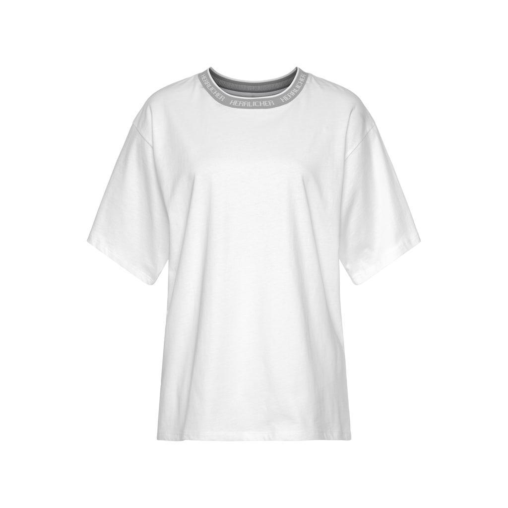 Herrlicher T-Shirt »CALLEN«, mit Logo-Mania-Kontrast-Piping