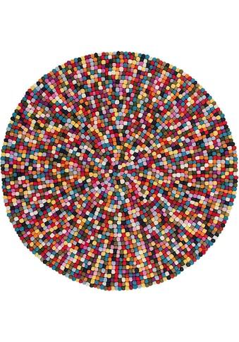 Obsession Wollteppich »My Passion 730«, rund, 30 mm Höhe, Filzkugel-Teppich, reine Wolle kaufen