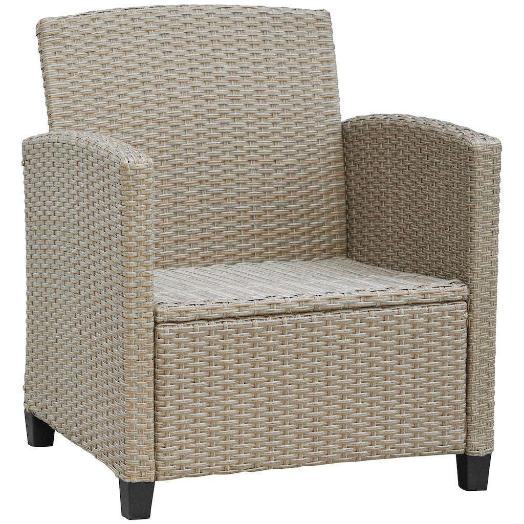 KONIFERA Loungeset »Lorca«, (12 tlg.), 2-er Sofa, 2 Sessel, Tisch 9x55 cm, Polyrattan