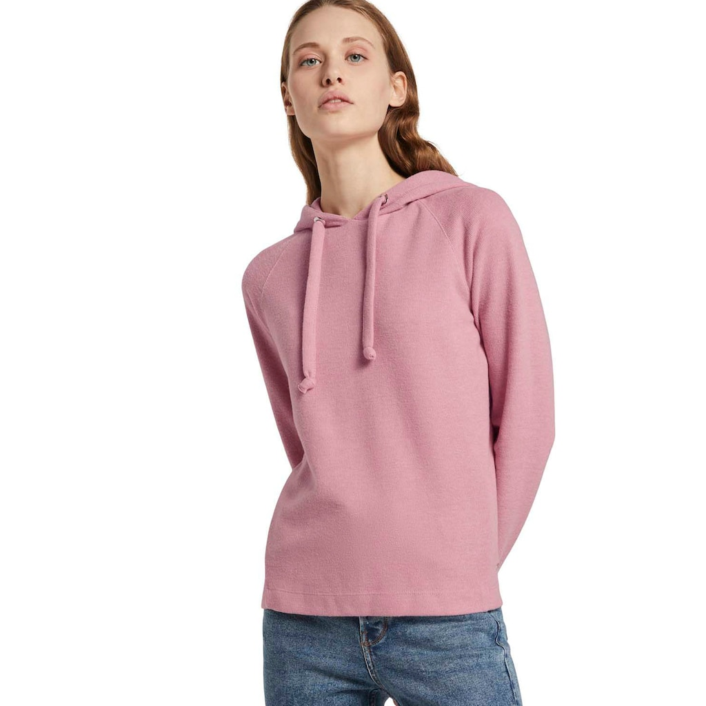 TOM TAILOR Denim Kapuzensweatshirt, mit vorgelegten Seitennähten