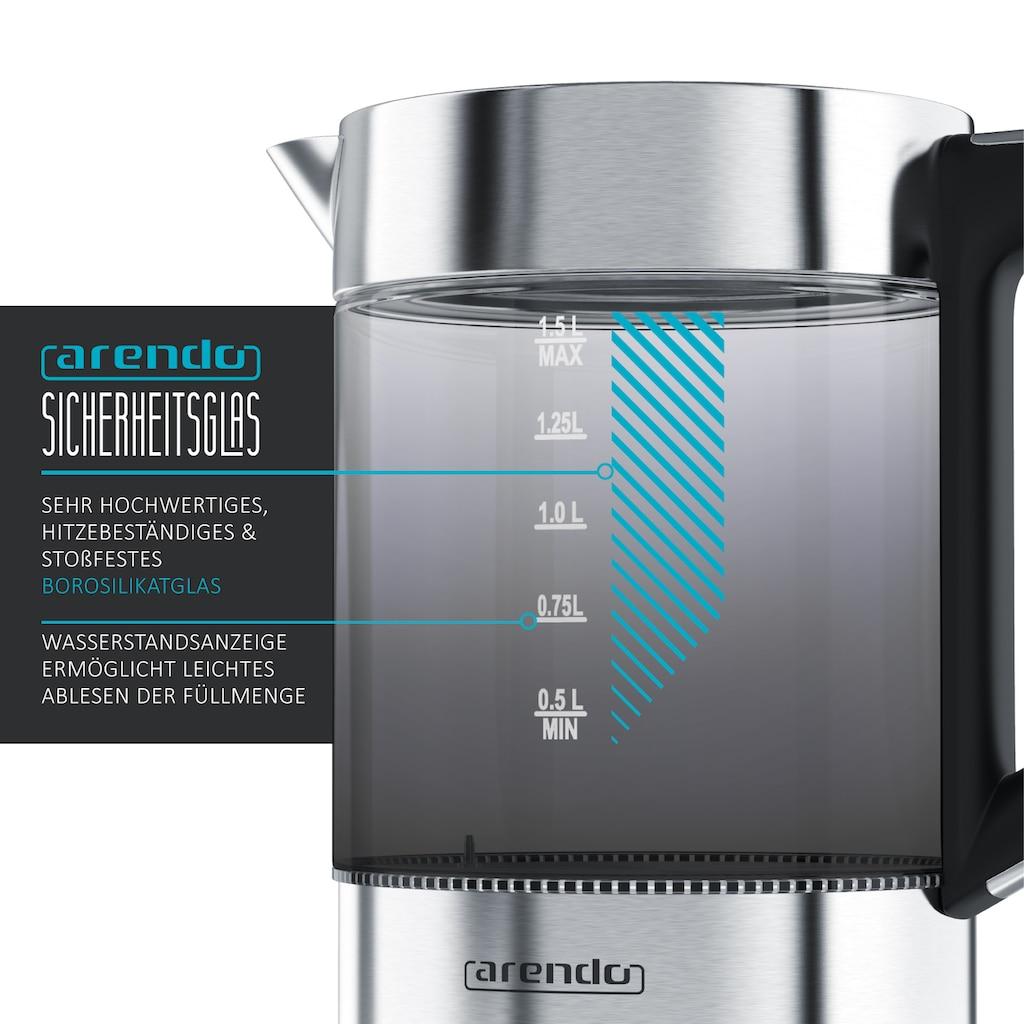 Arendo Wasserkocher »4 Temperaturstufen - 2200 Watt«, 1.5 l, 2200 W, 1,5 Liter mit Basisstation