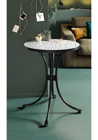 INOSIGN Beistelltisch »Steph«, mit schöner, weißer Mosaik-Keramikplatte und Metallgestell kaufen