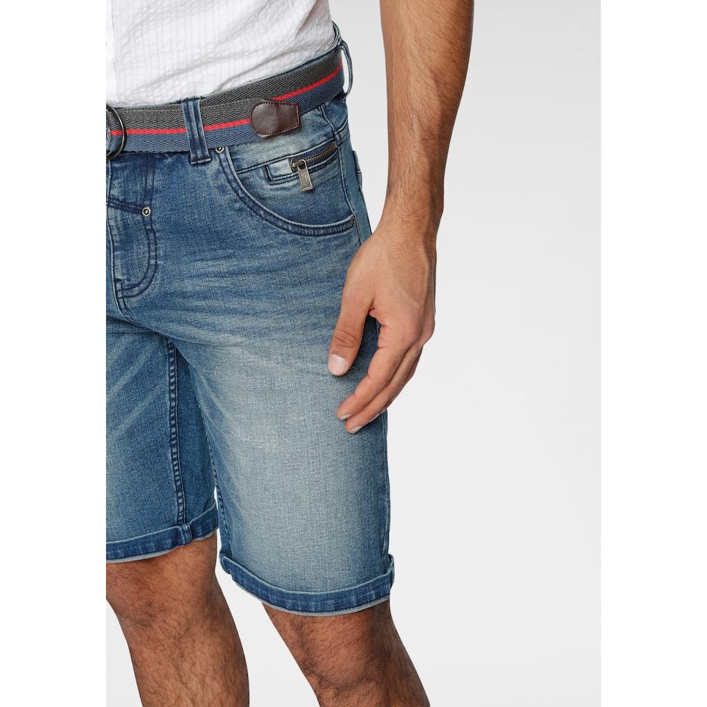 LERROS Jeansshorts, (mit Gürtel), in authentischer Waschung