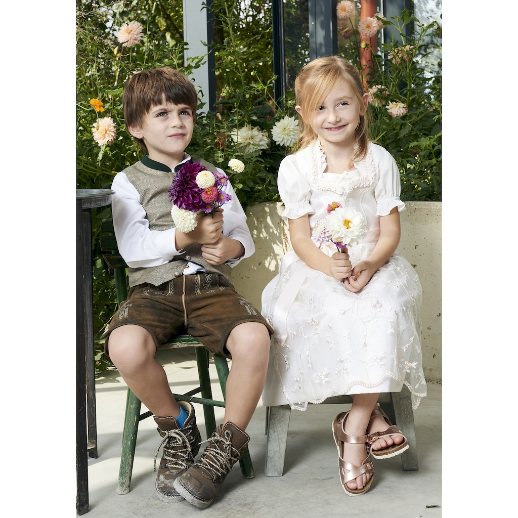 OS-Trachten Trachtenhemd, Kinder, mit Stehkragen und Riegel