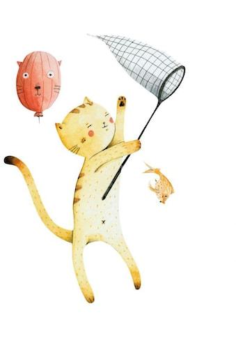 Wall-Art Wandtattoo »Bunte Tierwelt Katze mit Ballon« kaufen