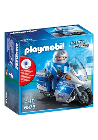 Playmobil® Konstruktions-Spielset »Motorradstreife mit LED-Blinklicht (6876), City Action«, Made in Germany kaufen