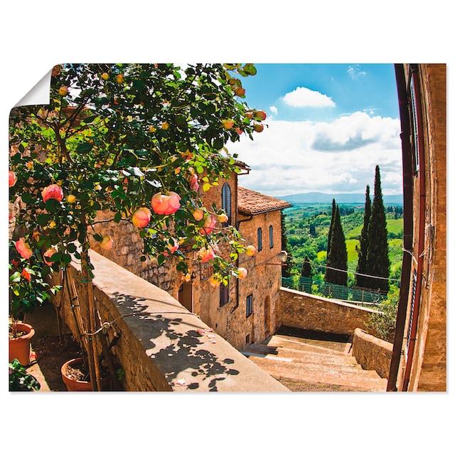 Artland Wandbild »Rosen auf Balkon Toskanalandschaft«